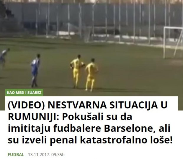"""Și site-urile din Serbia au """"promovat"""" faza din meciul de pe stadionul ICIM"""