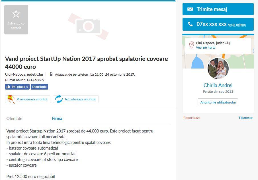 Mai mulți antreprenori care au primit finanțare prin programul Start-Up Nation și-au scos firmele la vânzare pe OLX. Captură de ecran
