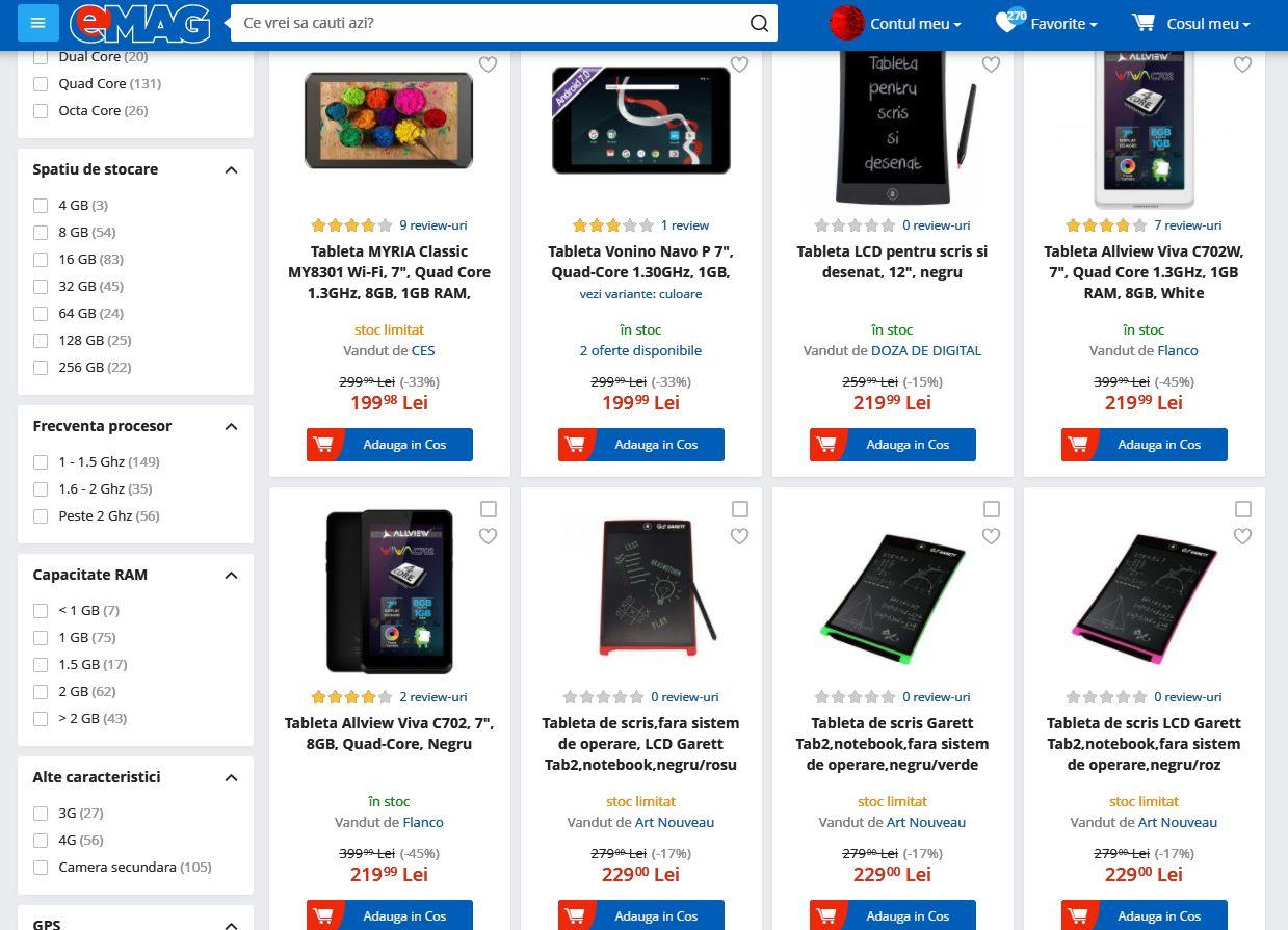 tablete ieftine de Black Friday 2017 la eMag