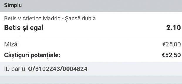 Cota zilei și avancronică pentru meciul Betis Sevilla vs Atletico Madrid