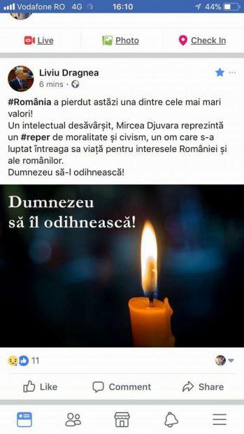 Liviu Dragnea l-a încurcat pe Neagu Djuvara cu Mircea Djuvara, un filosof român care a murit în 1945