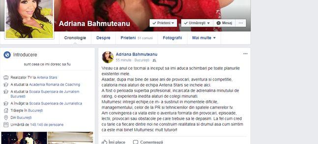 Adriana Bahmuțeanu și-a dat demisia de la Antena Stars. A făcut anunțul în urmă cu puțin timp