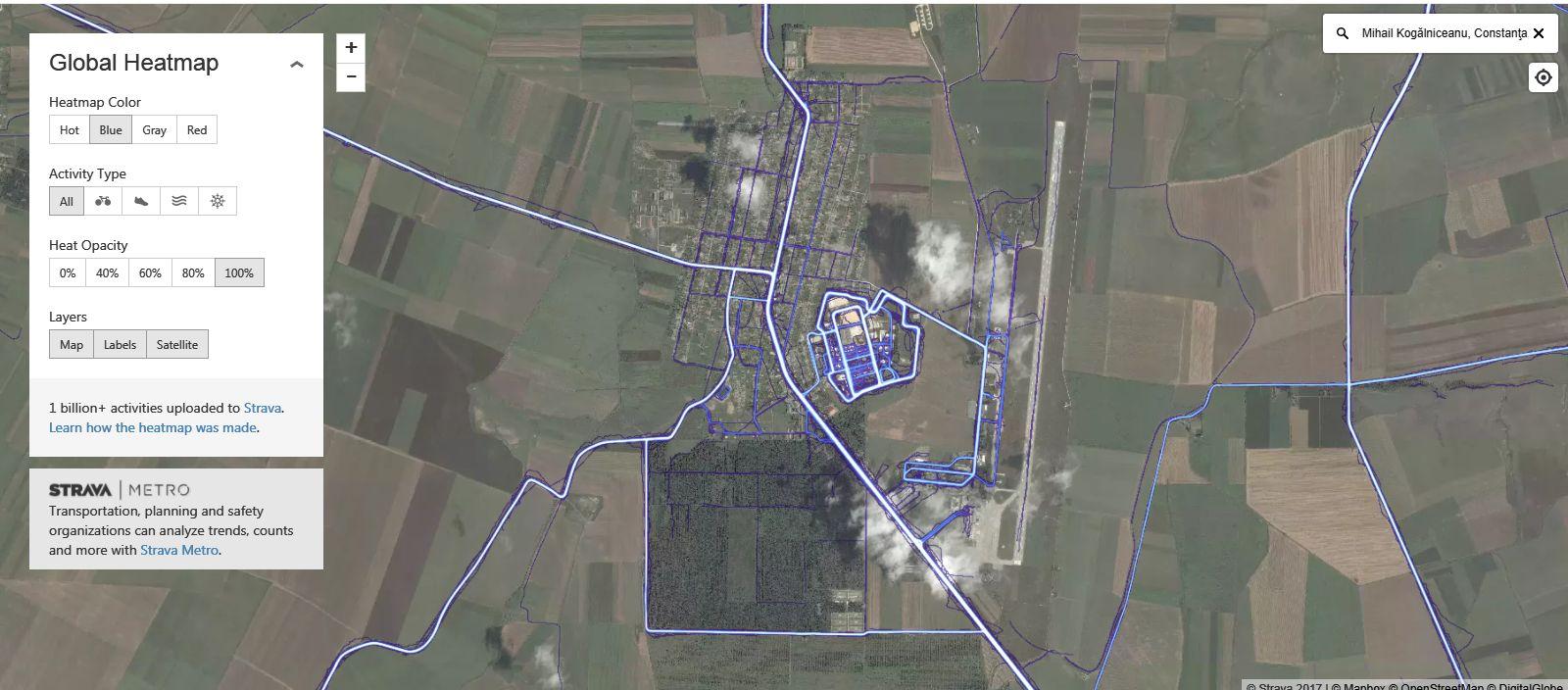 Baza de la Mihail Kogalniceanu pe hartile aplicatiei de fitness Strava