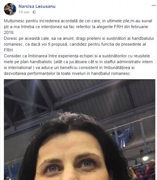 Narcisa Lecușanu și-a anunțat candidatura la președinția FR Handbal. Îl bate pe Alexandru Dedu?