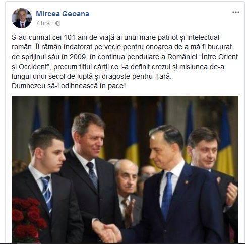 Mircea Geoană a atașat o poză cu Mircea Ionescu Quintus într-un mesaj de condoleanțe în memoria lui Neagu Djuvara