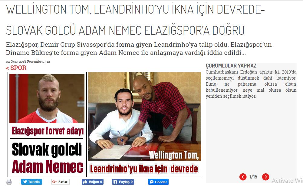 Adam Nemec, la Elazigspor. Gigi Becali își poate lua adio de la atacantul dinamovist