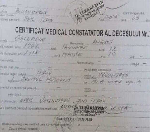 Certificat de deces Andrei Gheorghe