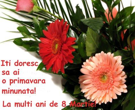 Felicitări de 8 martie- Flori de gerbera și trandafiri