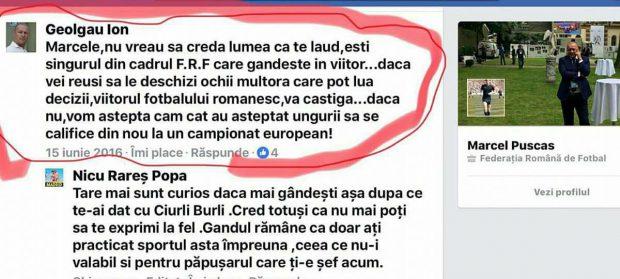 """Ion Geolgău, angajat FRF, îl lauda pe Marcel Pușcaș, unul dintre candidații anti-Burleanu. """"Ești singurul din FRF care gândește în viitor"""""""