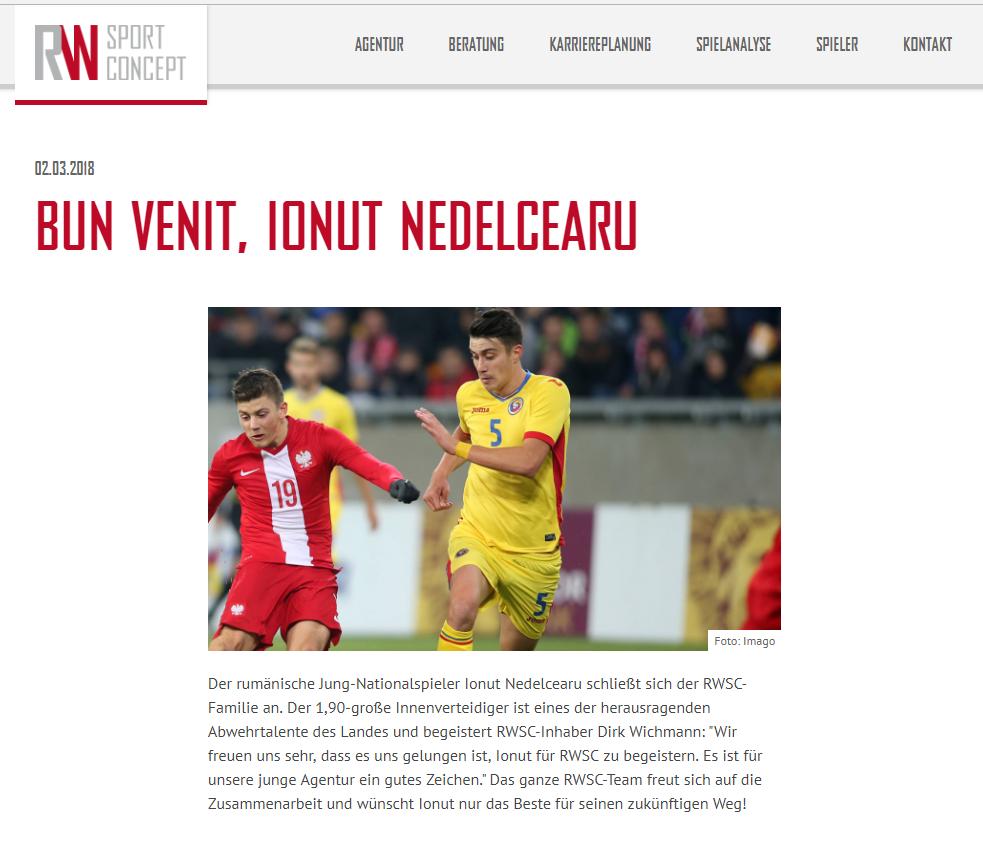 Cine îl impresariază pe Ionuț Nedelcearu. Fotbalistul a semnat cu firma germană RW Sport Concept. Agenții celorlalți tricolori