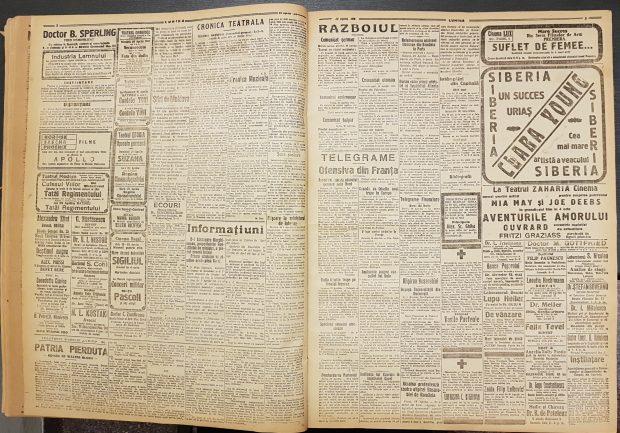 Ziarul Lumina, ediţia publicată în data 22 aprilie 1918, prima zi de Paşte, paginile 2 şi 3