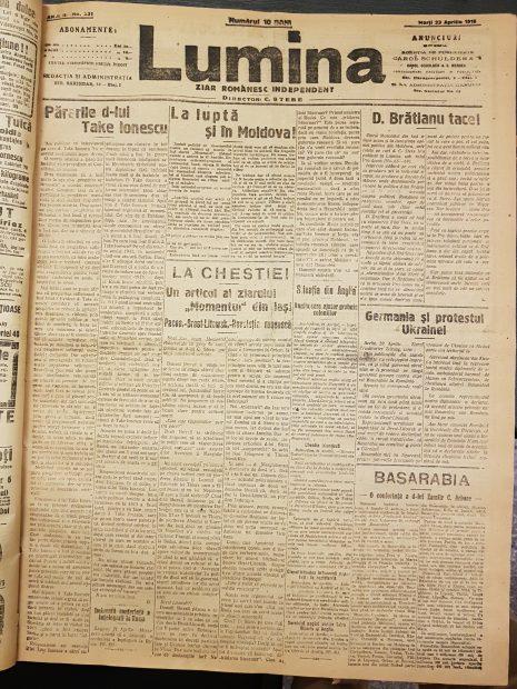 Ziarul Lumina, ediţia publicată în data 22 aprilie 1918, prima zi de Paşte