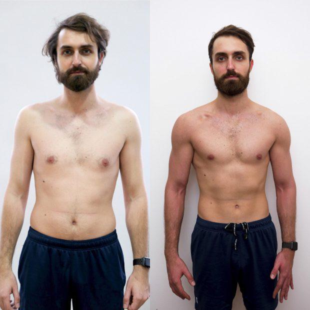 Un tânăr a reuşit să scape de burtă şi să-şi mărească masa musculară, în 11 săptămâni, prin metoda