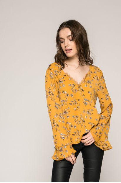 Haine noi de Paște-bluză galbenă cu imprimeu floral