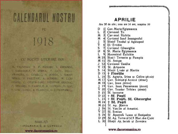 Calendar din anul 1918, când Paştele a picat în a doua jumătate a lunii Aprilie