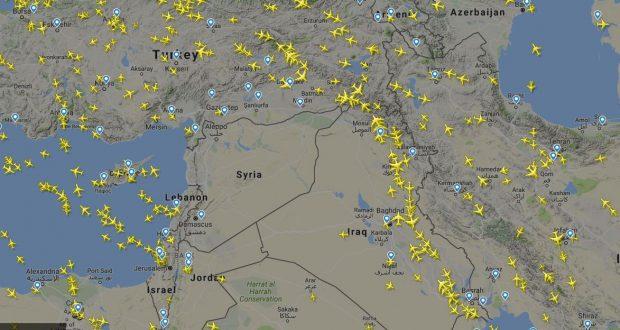 FOTO   Cum arată spațiul aerian al Siriei, după ce Eurocontrol a emis o alertă cu privire la posibile atacuri cu rachetă