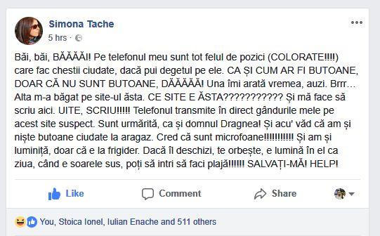 """Jurnalista Simona Tache despre """"punctele luminoase"""" care îi apar lui Liviu Dragnea pe telefon când îi este """"ascultat"""""""