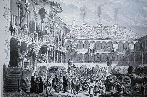 Hanul Manuc a fost construit în 1808 pe terenurile care aparținuseră Curții Domnești. În anul 1860 arăta așa cum l-a reprezentat într-un desen D. Lancelot. Imaginea a fost publicată în Tour du Monde în 1866. Imobilul a rămas apropae neschimbat în fix 200 de ani de existență.