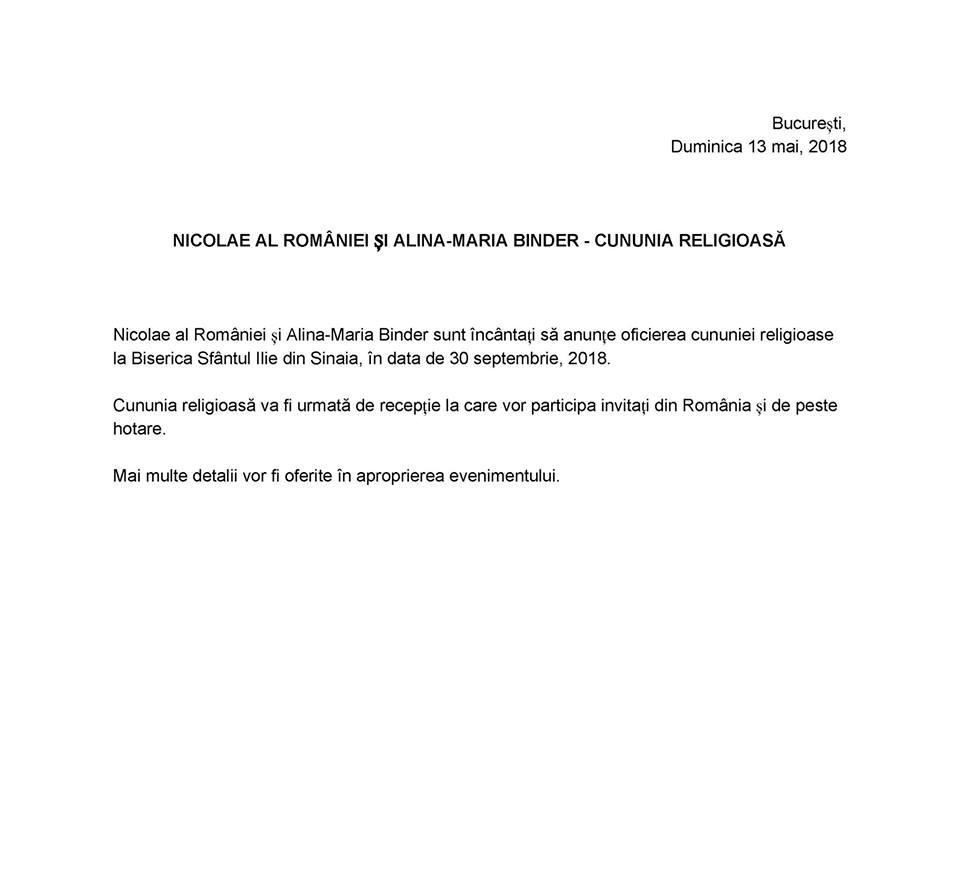 Principele Nicolae al României anunță data nunții cu Alina Binder