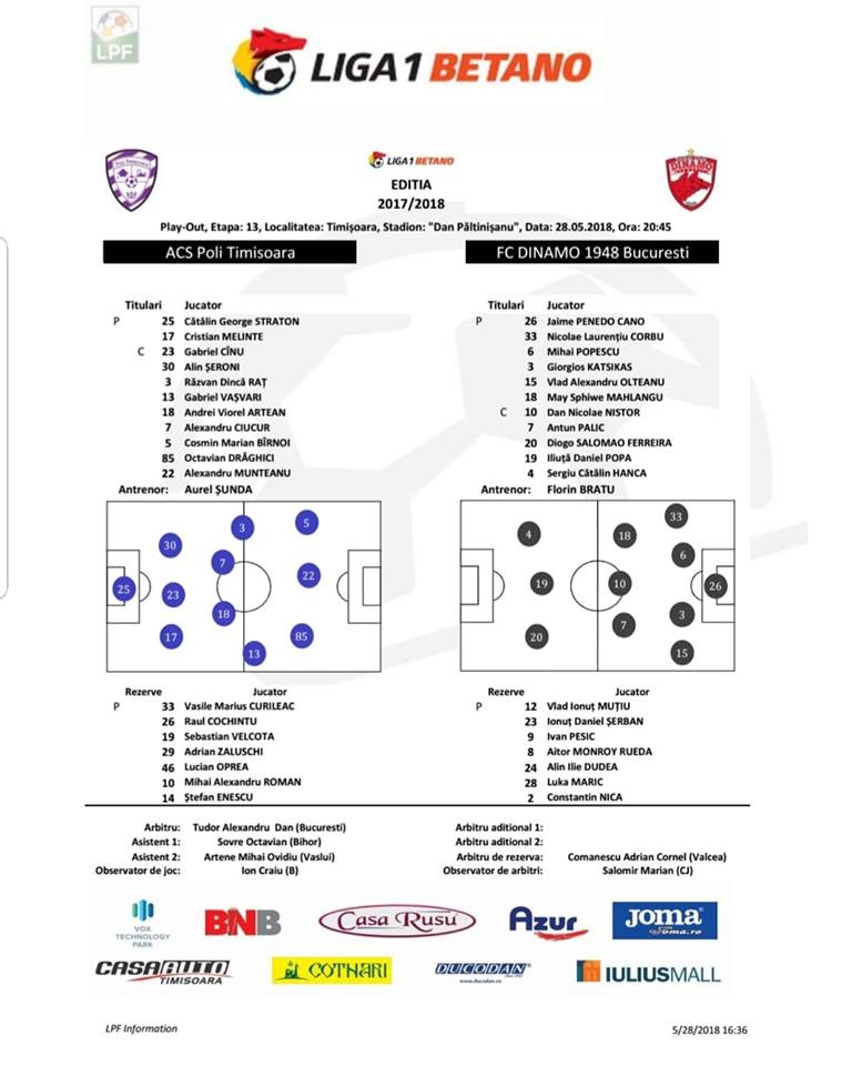 LIVETEXT Liga 1, play-out, etapa a 13-a: ACS Poli Timișoara - Dinamo 1-3. Bănățenii, spre Liga 2. Reacții