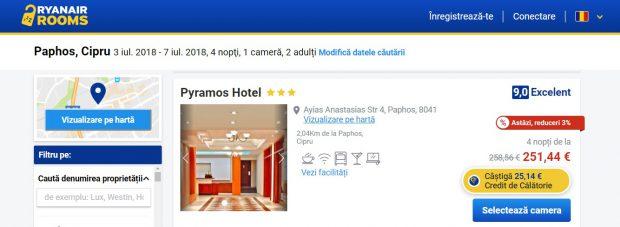Ofertă de cazare a Ryanair, în Paphos - Cipru, prin care obţii o reducere de 25 de euro la biletul de avion