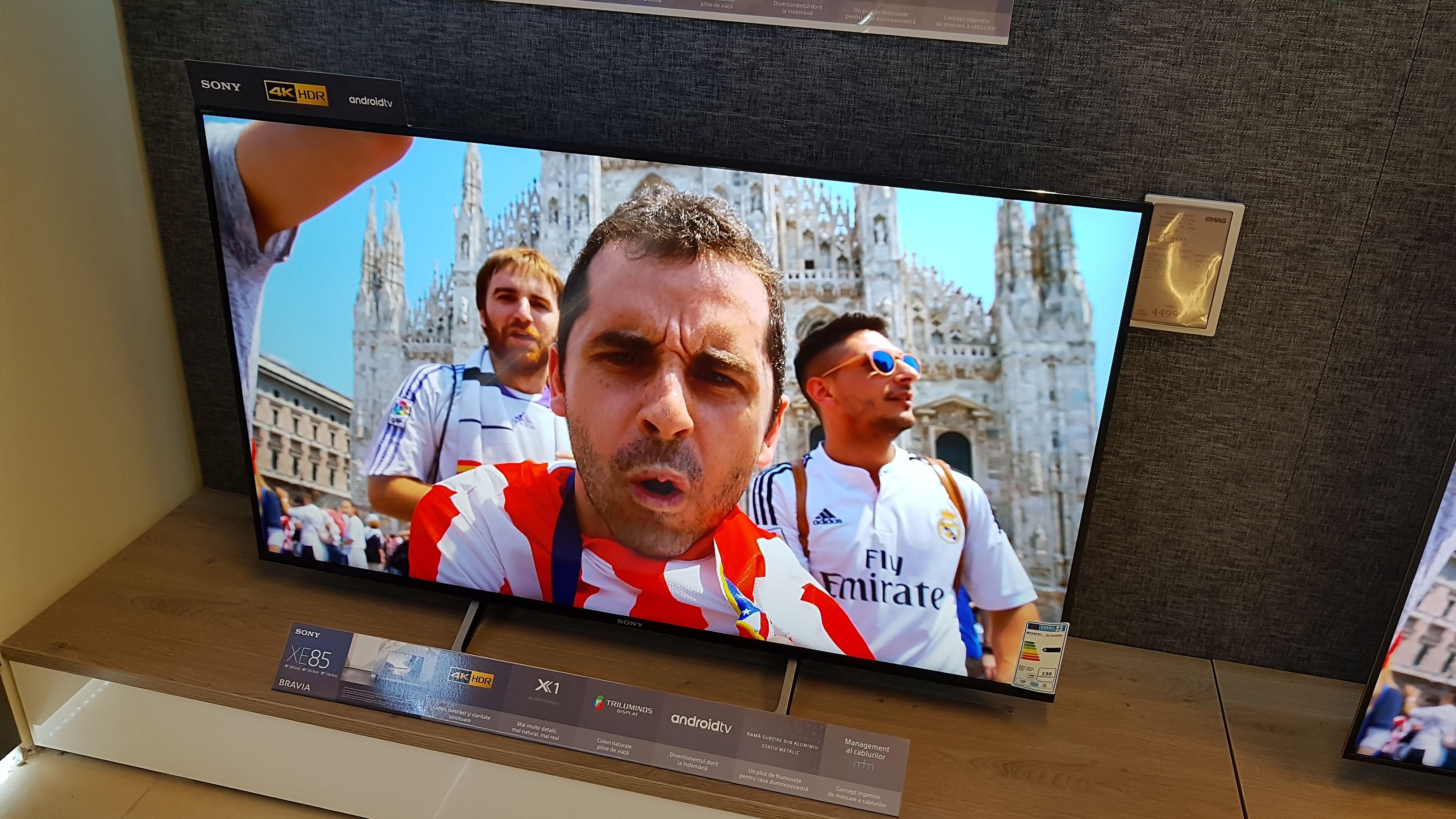 Televizor Sony Bravia cu Android TV expus la Emag