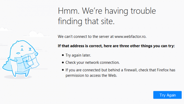 Print screen cu site-ul Webfactor.ro, care nu mai funcționează