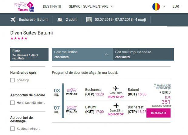 Oferta Wizz Tours pentru o vacanţă în Batumi - Georgia, în perioada 3 - 7 iulie, care include bilet de avion şi cazare la un hotel de 5 stele