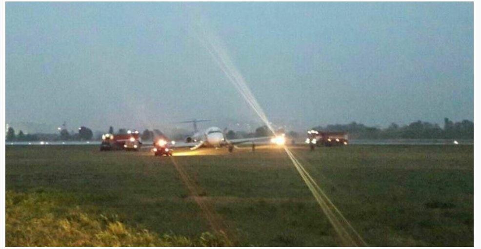 Un avion cu 169 de pasageri la bord a aterizat în afara pistei în Kiev