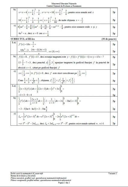 Barem matematică BAC 2018. Baremul de notare și evaluare pentru proba de Matematică la Bacalaureat 2018, profilul Mate-info