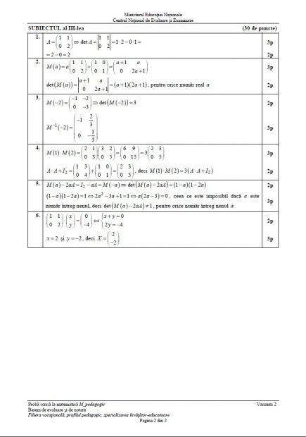 Barem matematică BAC 2018. Baremul de notare și evaluare pentru proba de Matematică la Bacalaureat 2018, profilul Pedagogic