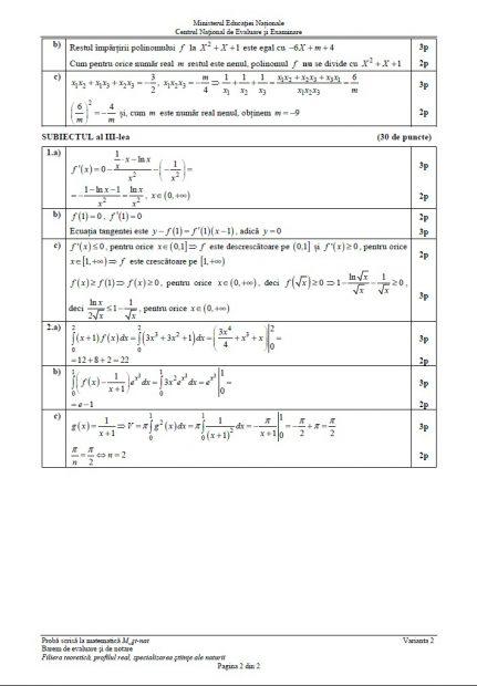 Barem matematică BAC 2018. Baremul de notare și evaluare pentru proba de Matematică la Bacalaureat 2018, profilul Științele Naturii