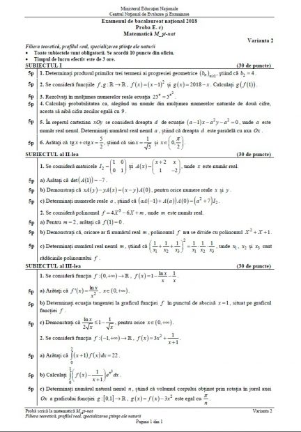 Subiecte matematică BAC 2018.  Subiectul la Matematică de la la Bacalaureat 2018, profilul Științele Naturii
