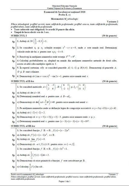 Subiecte matematică BAC 2018.  Subiectul la Matematică de la Matematică la Bacalaureat 2018, profilul Tehnologic