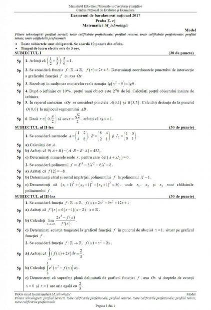 Subiectele date la BAC la matematică. Subiectul de la Matematică la Bacalaureat 2017, profilul Tehnologic
