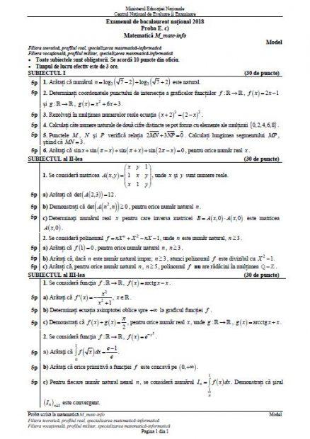 BAC Matematică 2018. Model de subiect profilul mate-info pentru examentul de bacalaureat 2018, la matematică