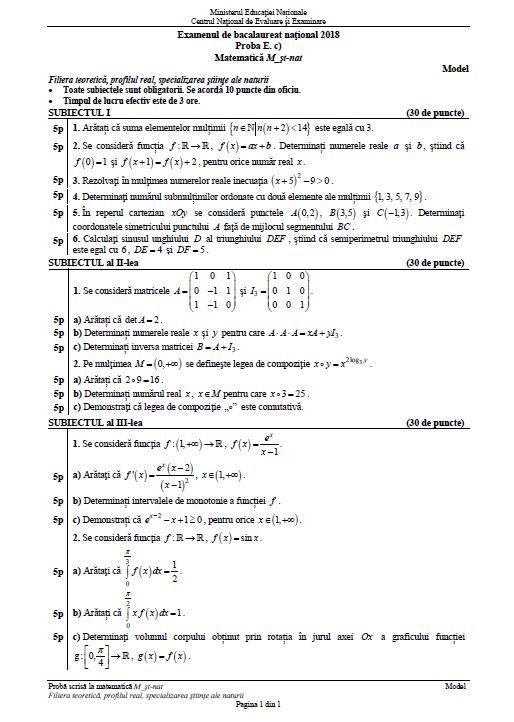 BACALAUREAT 2018 la matematică. Proba are loc miercuri