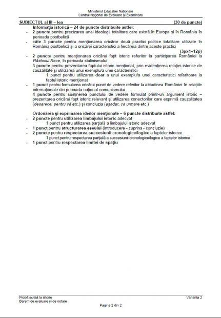 Baremistorie BAC 2018.  baremul de notare și evaluare pentru proba de istorie de la Bacalaureat 2018