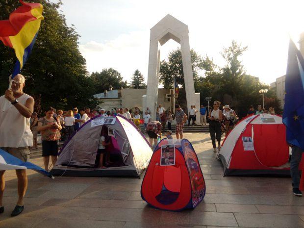Fotografie de la protestul din Galați