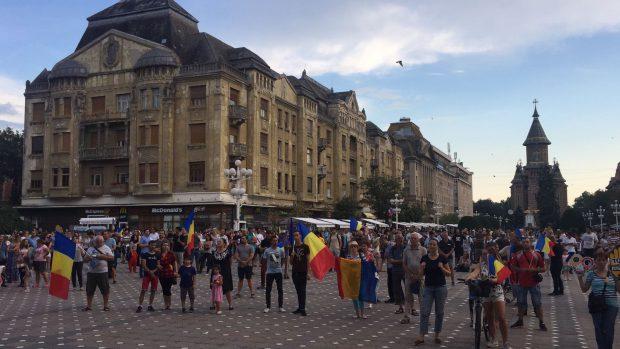 Fotografie de la protestul de la Timișoara