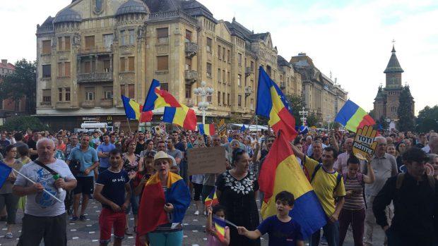 Fotografie de la protestul din Timișoara