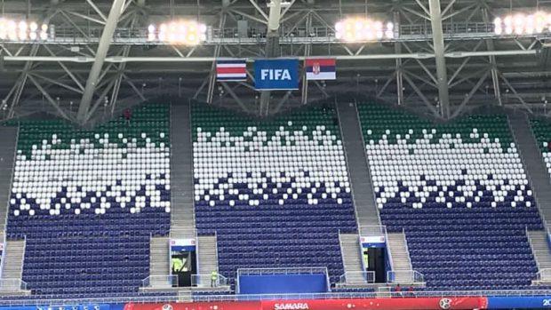 Steagurile celor două naționale au fost puse deja pe stadionul din Samara