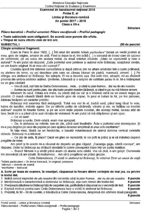 BACALAUREAT 2018 la Limba și literatura română. Absolvenții de clasa a XII-a au dat primul examen scris / UPDATE