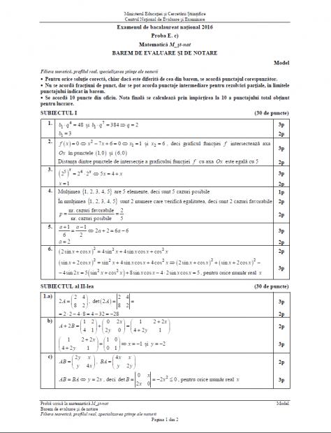 Subiecte matematică BAC 2018. Subiectul de la Matematică la Bacalaureat 2016, profilul Științele Naturii