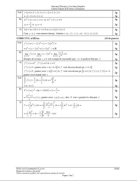 Subiectele date la BAC la matematică