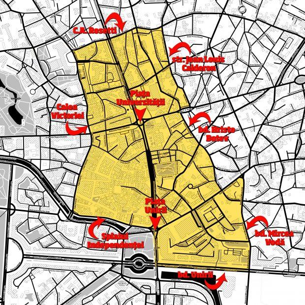 """10 lei pe oră, noul tarif pentru o oră de parcare în centrul Bucureștiului. Iată zona """"ZERO"""" unde ar urma să se aplice scumpirea"""