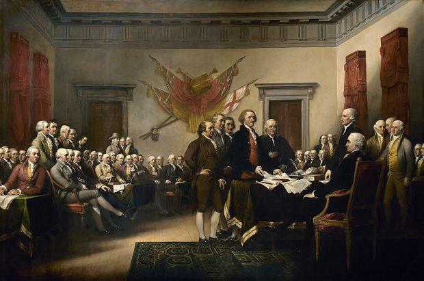 Momentul în care Statele Unite își declară independența față de Regatul Marii Britanii