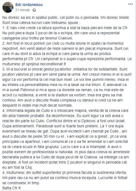 Mesajul lui Edi Iordănescu