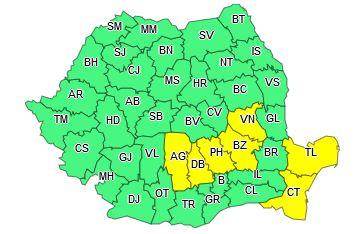 harta Cod Galben, in 7 județe, pe 13 iulie