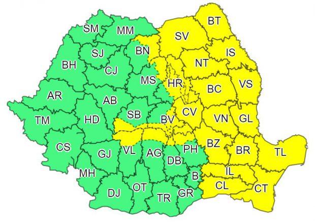 Cod galben de ploi torențiale în Iași. Harta cu Județele vizate de avertizarea cod galben de ploi torențiale